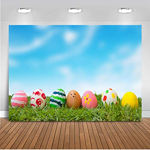 Mocsicka Happy Easter Day Photo Backdrop 7x5ft Easter Egg Blue Sky Green Grass Photography Background Happy Easter Day Party Banner Photo Studio -