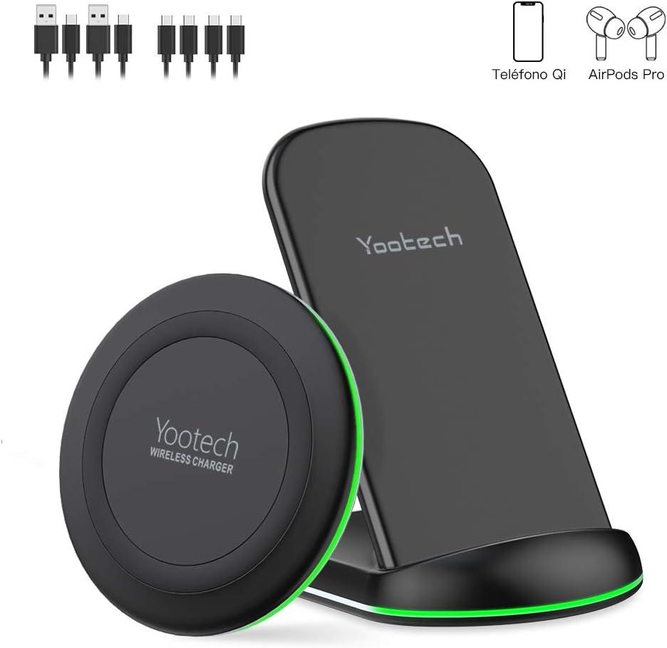 yootech Cargador Rápido Inalámbrico, 2 Pack 7.5W Para iPhone SE 2020/11/11 Pro/11 Pro Max/XS MAX/XR/XS/X/8+/8, Qi Carga Rápida 10W para Galaxy S20/Note 10/S10+/S9+/Note 8/S8, AirPods Pro(No Adaptador)
