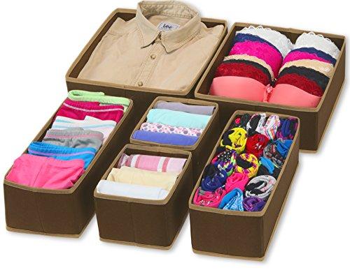 SimpleHouseware Foldable Cloth Storage Box Closet Dresser Drawer Divider Organizer Basket Bins for Underwear Bras, Brown (Set of 6)