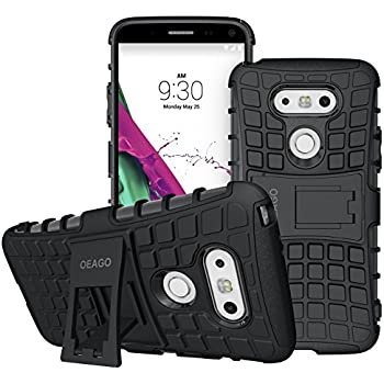 LG G5 Case, OEAGO LG G5 Cover Accessories - Tough Rugged Dual Layer Protective Case with Kickstand for LG G5 - Black