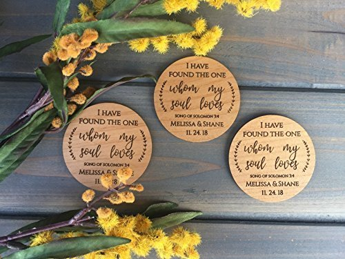 Wedding Favor Magnets - Christian Wedding Favors - Engraved Favor Magnets (Set of 25)]()