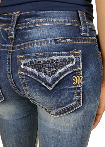 Miss Me Women's Indigo Open Flap Slim Fit Jeans Extended Sizes Indigo 28