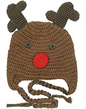 Boys Crochet Reindeer Beanie Hat - Brown