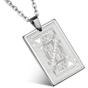 Flongo Men's Punk Rock Stainless Steel Jack of Hearts Playing Card Poker Tag Pendant Necklace, 22 inch Chain