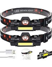 Ayxnzjsjm Hoofdlamp, 2 stuks oplaadbare USB-koplampen, IPX4 waterdicht, hardlopen, kamperen, vissen