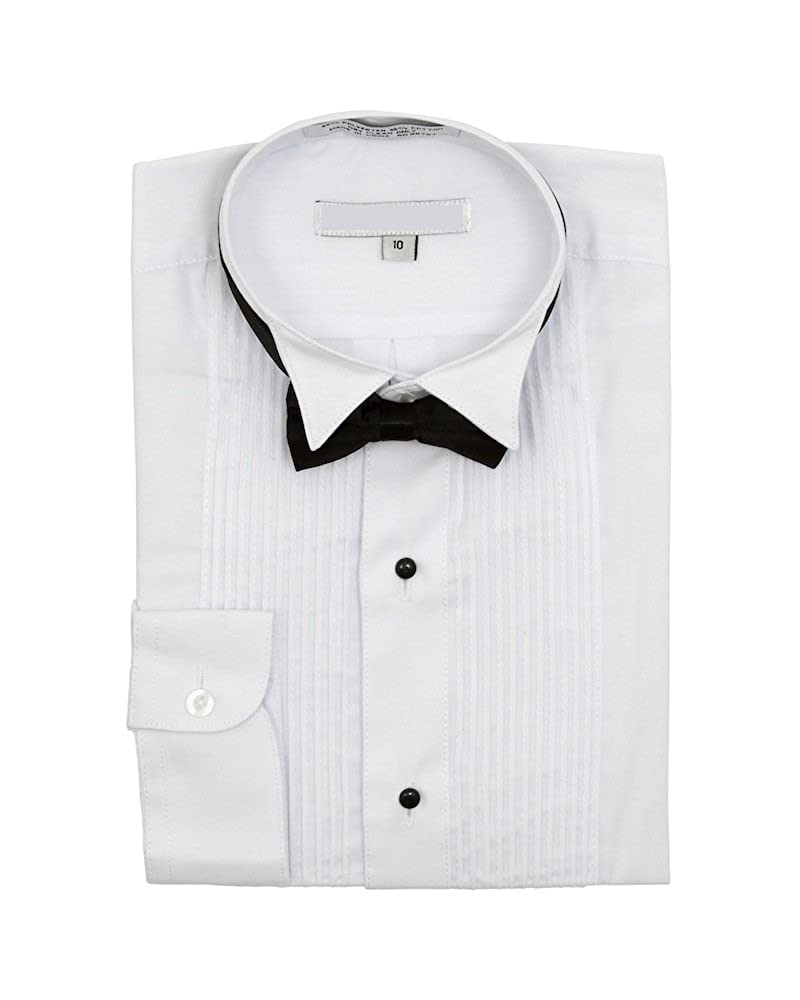 Sunrise Outlet Boys Wingtip Collar Pleated Tuxedo White Shirt Black Bow Tie NTP-BS3005T-WHT