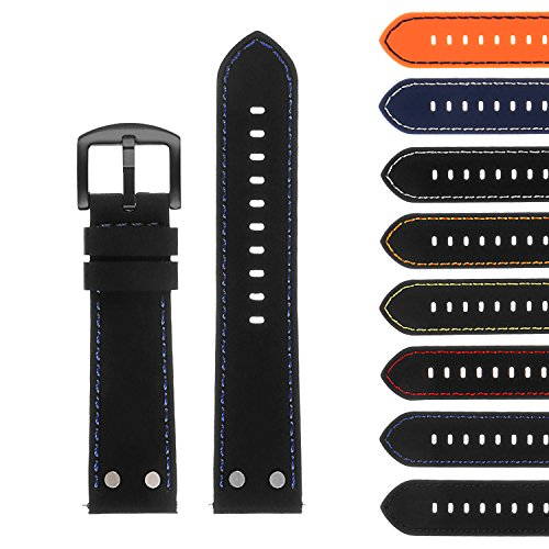 (StrapsCo Silicone Rubber Aviator Watch Band with Rivets & Black Buckle - Quick Release Strap - 18mm 20mm 22mm 24mm)