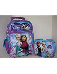 Disney Princess Frozen Elsa Anna 16 inches Rolling backpack & Lunch Box NEW Licensed