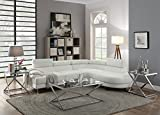 Teemore 2-pieces Sectional Sofa Set Upholstered in White Faux Leather