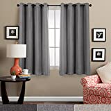Linen Textured Curtains for Bedroom Thermal Insulated Window Panels Room Darkening Curtains Blackout Living Room 2 Curtain Panels, 63'L, Charcoal Grey