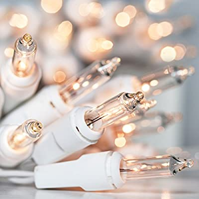 Holiday Essence 100 Clear White Christmas Lights with White Wire - Professional Grade for Indoor / Outdoor Use - Static + Flashing