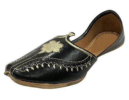 Aladdin Look Indian Vintage Handmade Leather Step Black n Juttis Style Khussa Men Shoes qRXPw