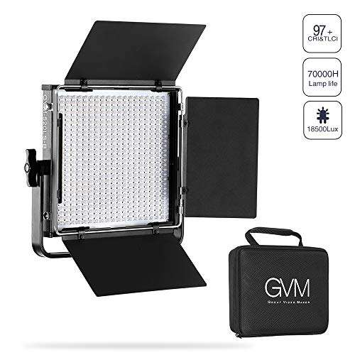 GVM 520 LED Video Light Panel Bi-Color 3200k-5600k Dimmable Video Light Panel for Video Studio Photography Interview YouTube Portrait,U Bracket, CRI97+ TLCI 97+,Carry Bag