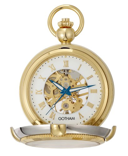 Gotham Men's Two-Tone Photo Insert Skeleton Pocket Watch with Built-in Stand # GWC14062TR