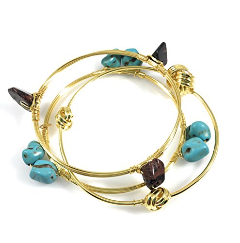 Crystal Wire Bangle Set of 3 Brown Synthetic Turquoise Stones Knot