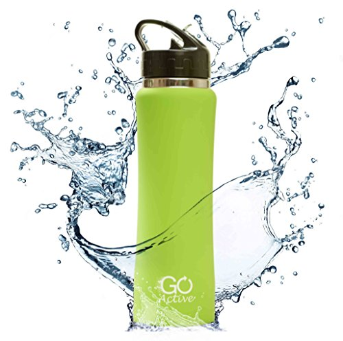 GO Active Insulated Water Bottle with Straw. Stainless Steel Double Wall Sport...