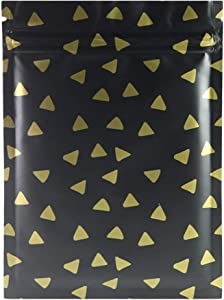 "QQ Studio 100 Matte Flat Food Grade Design Storage Ziplock Bags (0.4oz (2.8"" x 3.5""), Matte Black & Gold Diamond Flat Pouch)"