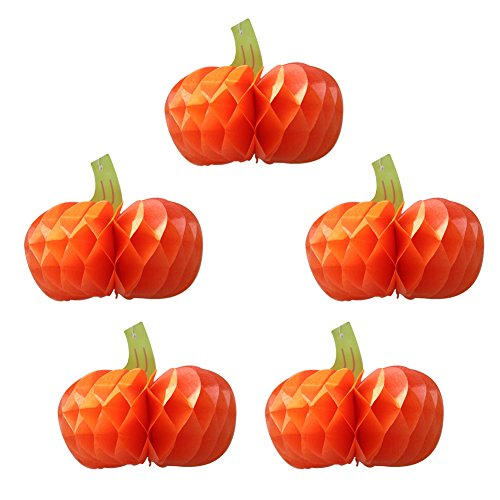 SUNBEAUTY 4 inch Pack of 5 Pumpkin Shaped Honeycomb Balls Tissue Paper Crafts for Halloween Table Hanging -