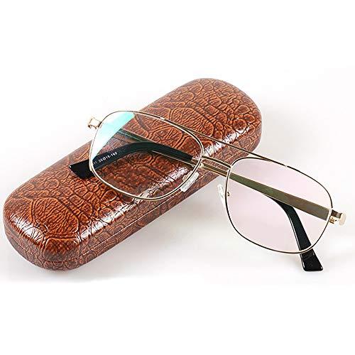 - D&XQX Fashion Men's Anti-Radiation Resin Reading Glasses Spring Hinged Metal Full Frame Business Reading Glasses(Golden),+3.00