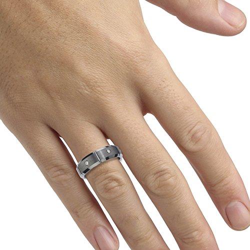 Mens Tungsten Diamond Band (0.15 carats, H-I I2) by AX Jewelry (Image #2)