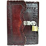 AAA Leather Diary Journal Notepad Writing Planners Book with Lock & Key Handmade Papers Designed for Home & Office Use 7x5 Inches