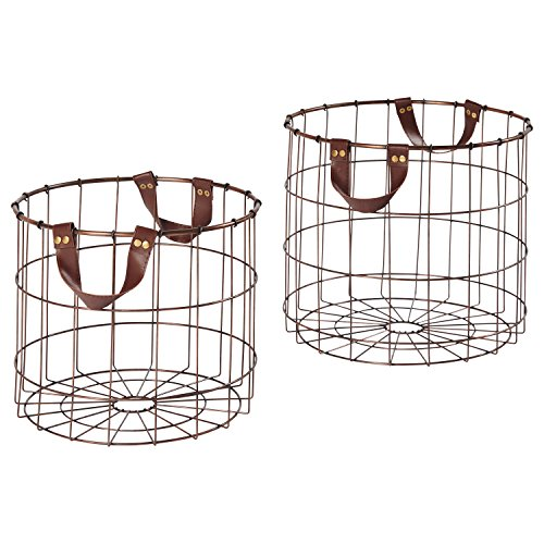 Stone & Beam Modern Round Metal Metal Wire Storage Basket with Faux Leather Handles - Pack of 2, Brown