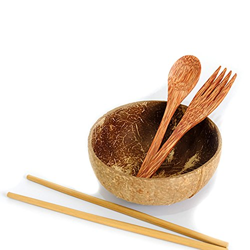 Cocoboo 100% Natural Coconut Shell Bowls, Artisan Handmade, Salad Smoothies Food Servings, Gift Set - Set Of 1 Bowl 1 Spoon 1 Fork 1 Pair Of (Shell Salad Serving Spoon)