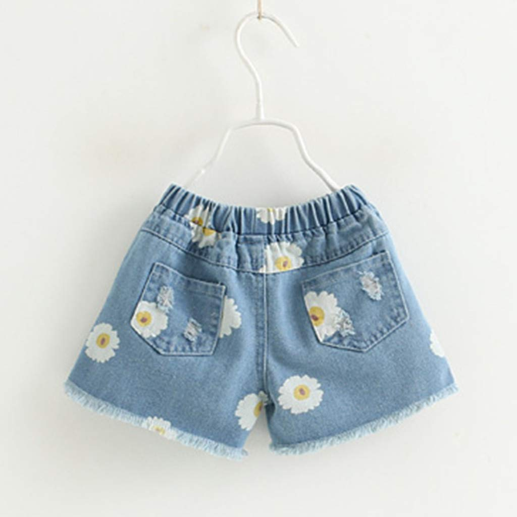 Baby Toddler Girls Summer Clothes Set for 2-7 Years Old Kids Short Sleeve Flower Print Tops Denim Shorts Outfits