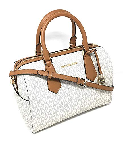Michael Kors Hayes Large Duffle Satchel Bag Vanilla MK Signature
