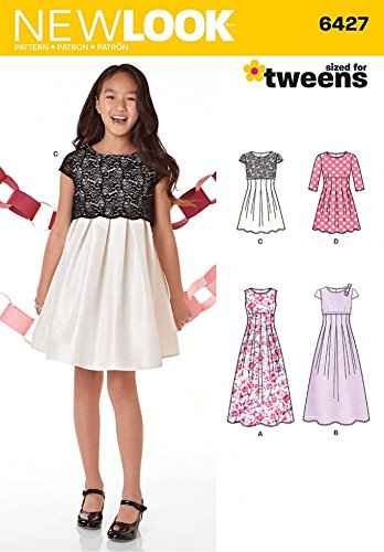 New Look Girls Sewing Pattern 6427 Evening Dresses in 4 Styles