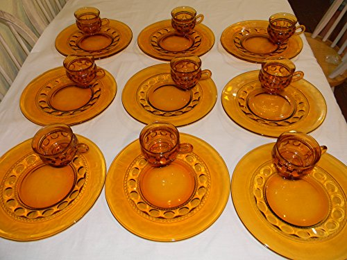 - Amber King Crown Thumbprint Set of 10 Luncheon Plates and Cupb