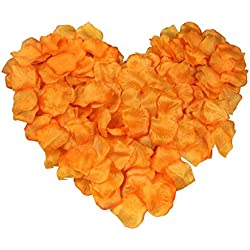 EMAXELER [Broken Girls Flowers]1000pcs Orange Silk Rose Flower Petals for Wedding Table Confetti Bridal Party Flower Girl Decoration 1000pcs Orange