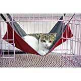 Lifeunion Pet Cat Hammock Bed for Cage Waterproof Oxford Reversible 2 Sides Hanging Pet Sleeping Bed for Kitten, Ferret, Bunny, Rabbit, Rat (Red)