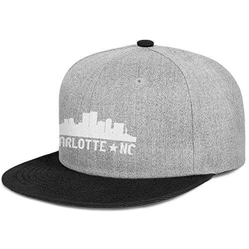- Unisex Hip Hop Baseball Cap-Charlotte North Carolina Skyline NC City Style Fitted Snapback Hat Sport Cap Outdoors
