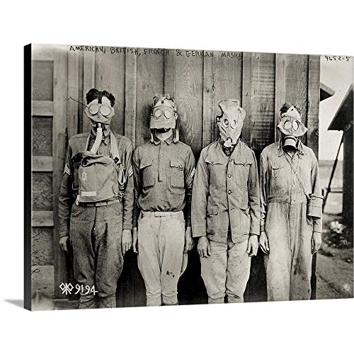 GREATBIGCANVAS Gallery-Wrapped Canvas Entitled American, British, French and German Gas Masks by Print Collection 48