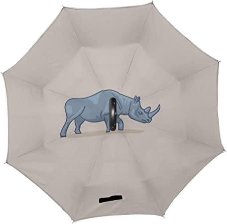 Double Layer Inverted Inverted Umbrella Is Light And Sturdy Rhinoceros Reverse Umbrella And Windproof Umbrella Edge Night Reflection