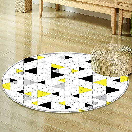 Round Area Rug Geometric Decor Abstract Triangles Diamond Motives in Mosaic Puzzle Style Illustration Yellow Black Living Dinning Room & Bedroom Rugs ()