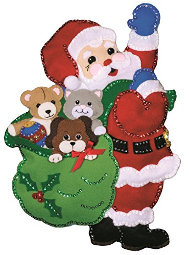 Tobin DW5184 Santa and Friends Wall Hanging Felt Applique Kit, 13 by -