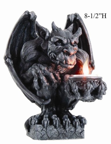 8.5 Inch Gargoyle Figurine Cold Cast Resin Candle Holder, Gray Color (Holder Resin Candle)