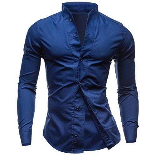 (WANSHIYISHE Men's Pure Color Stand Collar Longsleeve Shirt US XL Navy Blue)