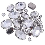 big clear gems - ZIJING 70pcs Mixed Small Big Size Silver Brass Metal Setting Clear White Oval Facets Sew On Crystal Rhinestones Gems Beads With 4 Holes for Sew On (Clear white Mix Size--70 pcs)