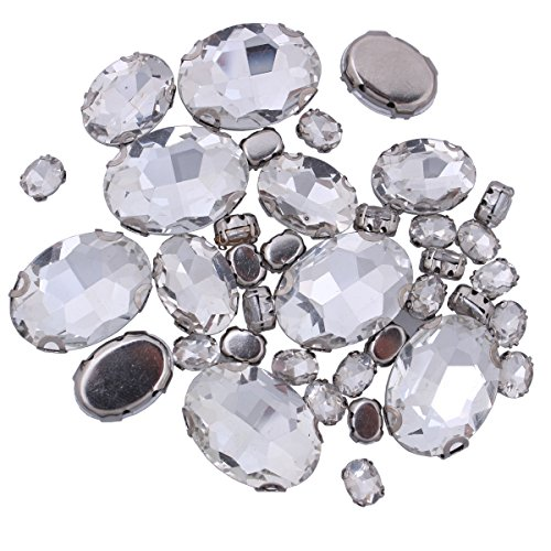 25mm Oval Beads - ZIJING 70pcs Mixed Small Big Size Silver Brass Metal Setting Clear White Oval Facets Sew On Crystal Rhinestones Gems Beads with 4 Holes for Sew On (Clear White Mix Size-70 pcs)