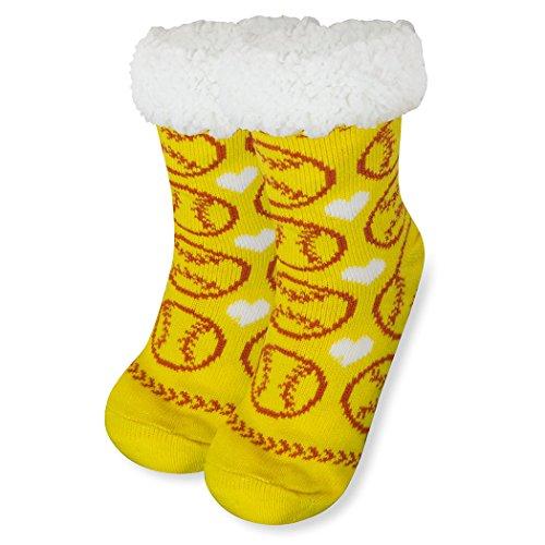 Sports Slipper Sock, Slipper Socks by ChalkTalk SPORTS, Sherpa Fleece Lined, Softball, One Size