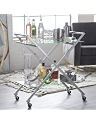 Metal And Tempered Glass Xena Modern Bar Cart