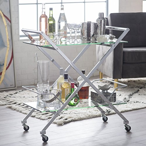 Modern Bar Cart (Metal and Tempered Glass Xena Modern Bar)
