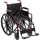 Manual Wheelchair. Red & Black Frame. 300 Lbs Capacity. Portable. Foldable Frame Desk-Style Armrests. Easy Turn In TIGHT AREAS. Quick Release For Large Rear Wheels. Fits most Car Trunks.