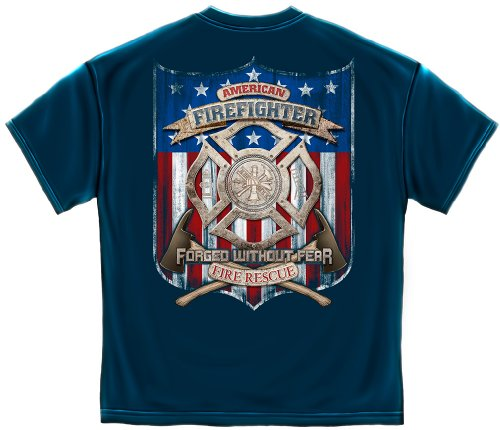 Firefighter Short Sleeve Shirts, 100% Cotton Casual Mens Shirts, Patriotic Fire Eagle American Made T-Shirts for Men or Women (XX-Large) (Outdoor Chicago Patios)