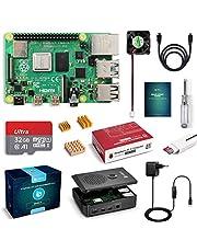 LABISTS Raspberry Pi 4 Modèle B (4 B) 2Go Starter Kit [ 2019 Version Dernière ] 32 Go Carte Micro SD Classe 10, 5,1V 3A Alimentation Interrupteur Marche/Arrêt, Ventilateur, Boîtier Noir, Dissipateur
