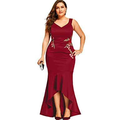Langstar Plus Size V Neck Floral Embroidered Sleeveless Mermaid Prom Dress(Red, 5XL)