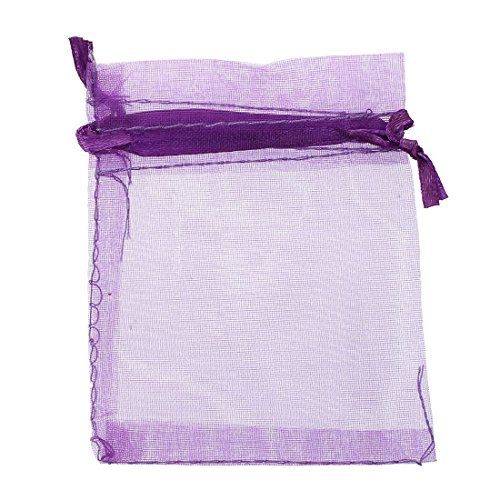 TOOGOO(R) 10 pack Beautiful Dark Purple Organza Gift and Favour Bags 7cm x 9cm